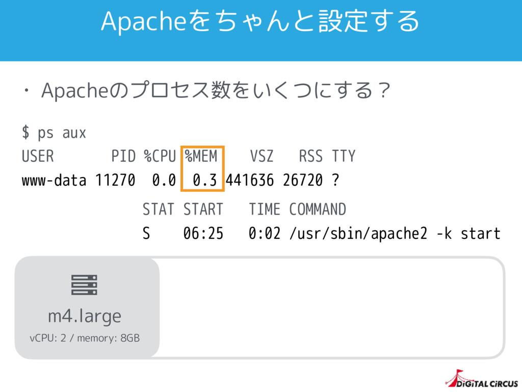 Apacheをちゃんと設定する • Apacheのプロセス数をいくつにする? $ ps aux...