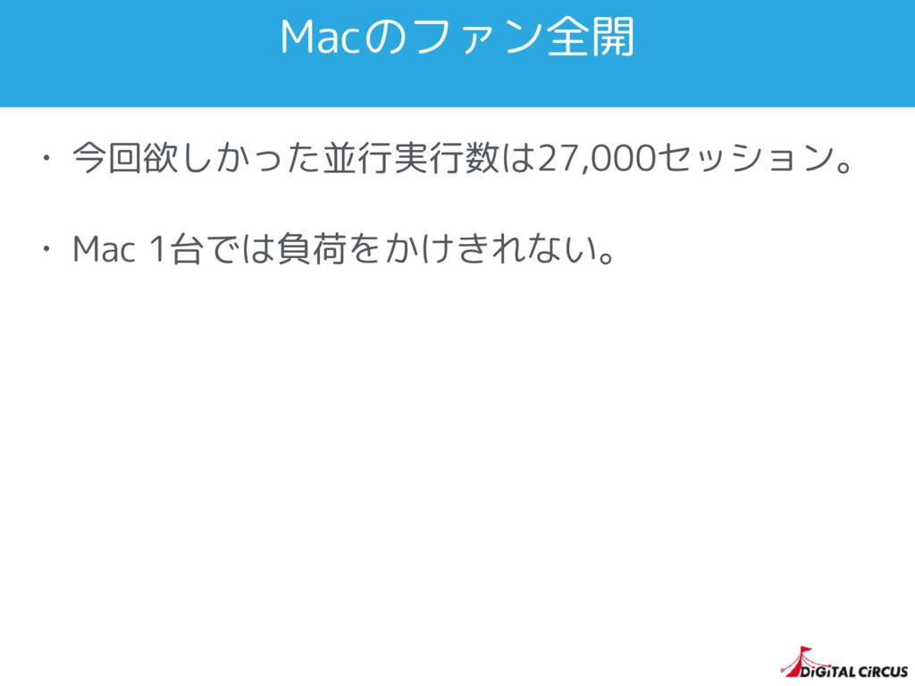 Macのファン全開 • 今回欲しかった並行実行数は27,000セッション。 • Mac 1台で...