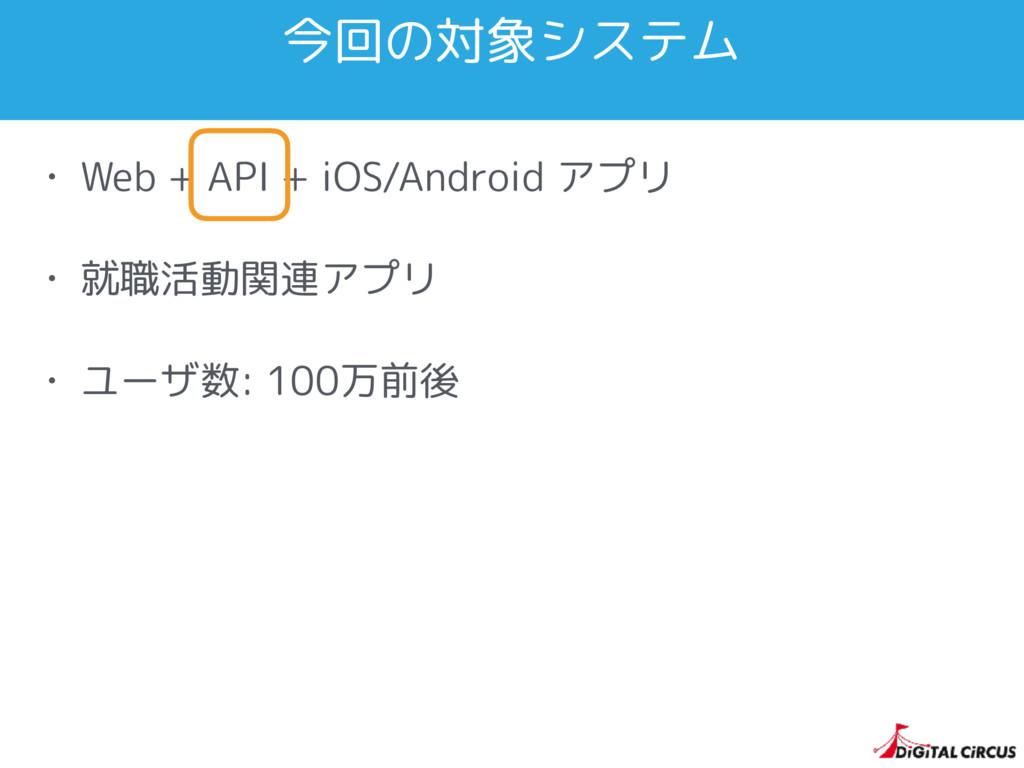 今回の対象システム • Web + API + iOS/Android アプリ • 就職活動関...