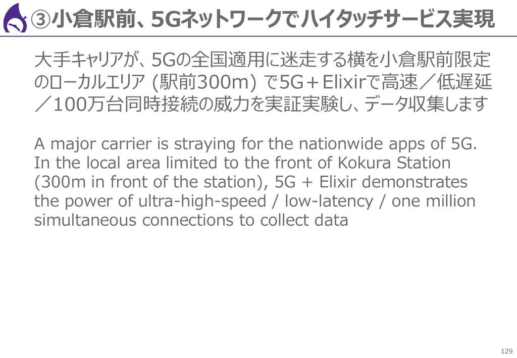 129 ③小倉駅前、5Gネットワークでハイタッチサービス実現 大手キャリアが、5Gの全国適用に...
