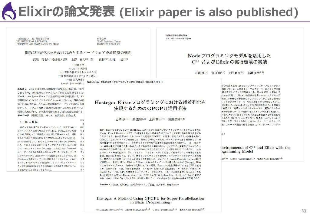 30 Elixirの論文発表 (Elixir paper is also published)