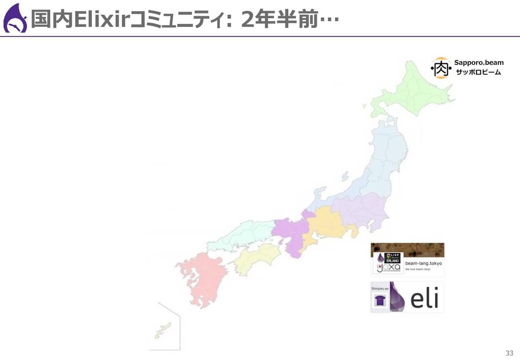 33 国内Elixirコミュニティ: 2年半前…