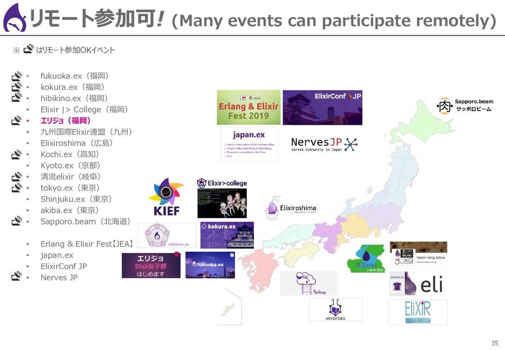 35 リモート参加可! (Many events can participate remote...