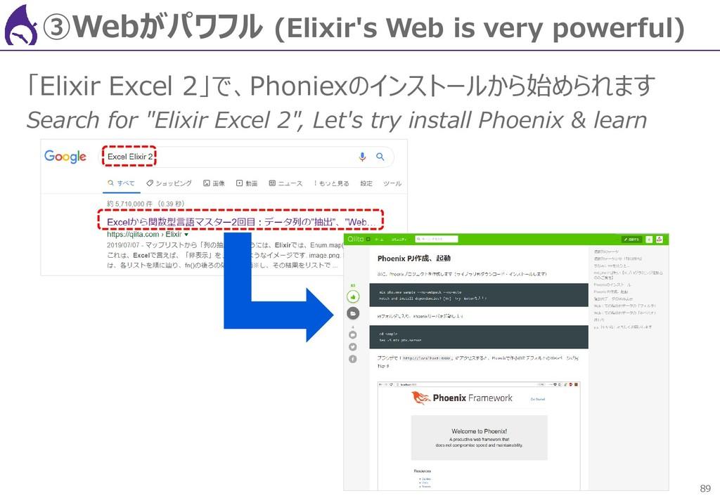 89 ③Webがパワフル (Elixir's Web is very powerful) 「E...