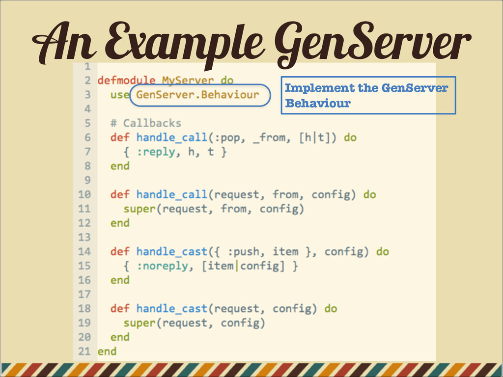 An Example GenServer Implement the GenServer Be...