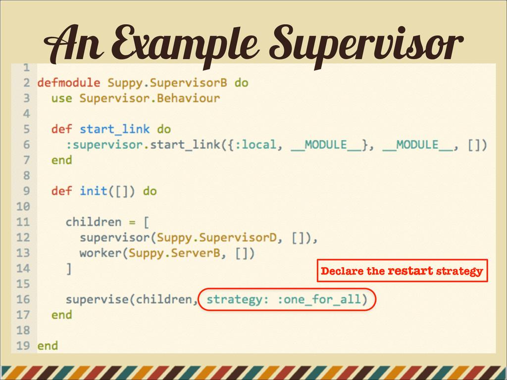 An Example Supervisor Declare the restart strat...