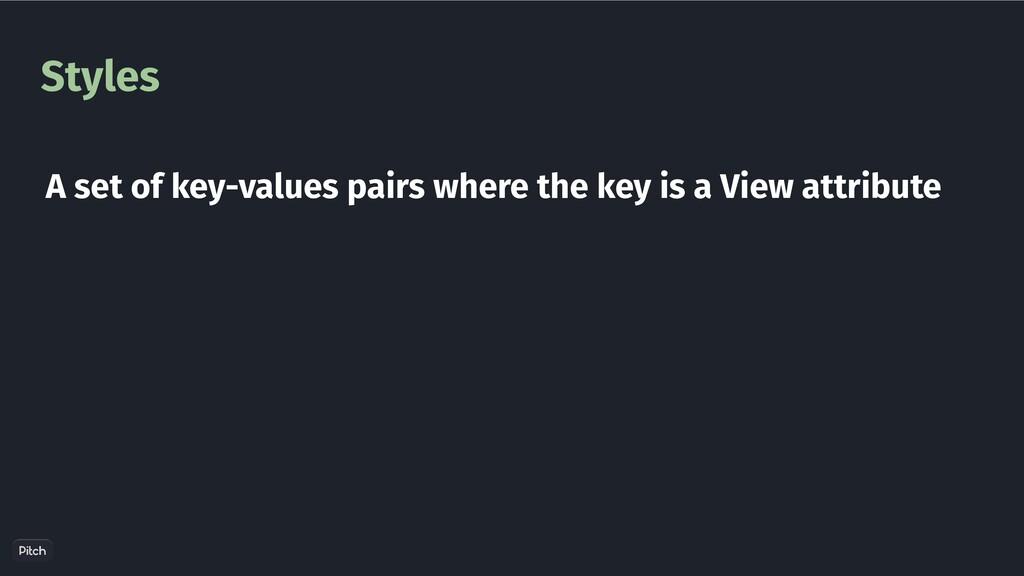Styles A set of key-values pairs where the key ...