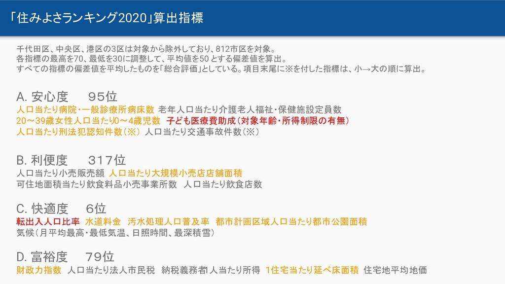 「住みよさランキング2020」算出指標 千代田区、中央区、港区の3区は対象から除外しており、8...