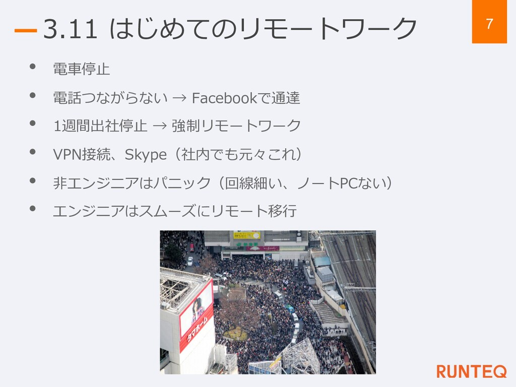 7 3.11 はじめてのリモートワーク • 電⾞停⽌ • 電話つながらない → Faceboo...
