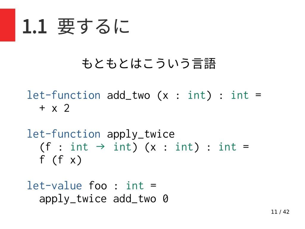 11 / 42 1.1 要するに let-function add_two (x : int)...