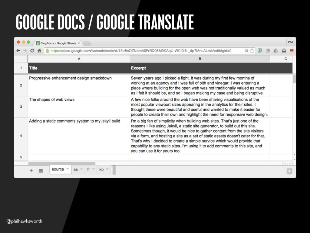 @philhawksworth GOOGLE DOCS / GOOGLE TRANSLATE