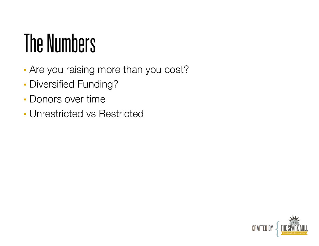 The Numbers • Are you raising more than you co...