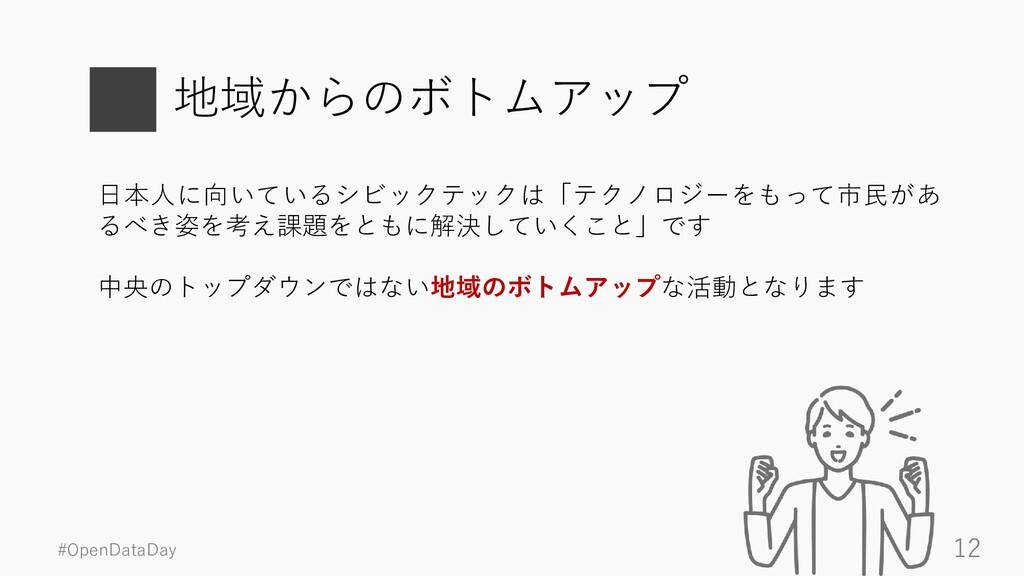 #OpenDataDay 12 地域からのボトムアップ 日本人に向いているシビックテックは「テ...
