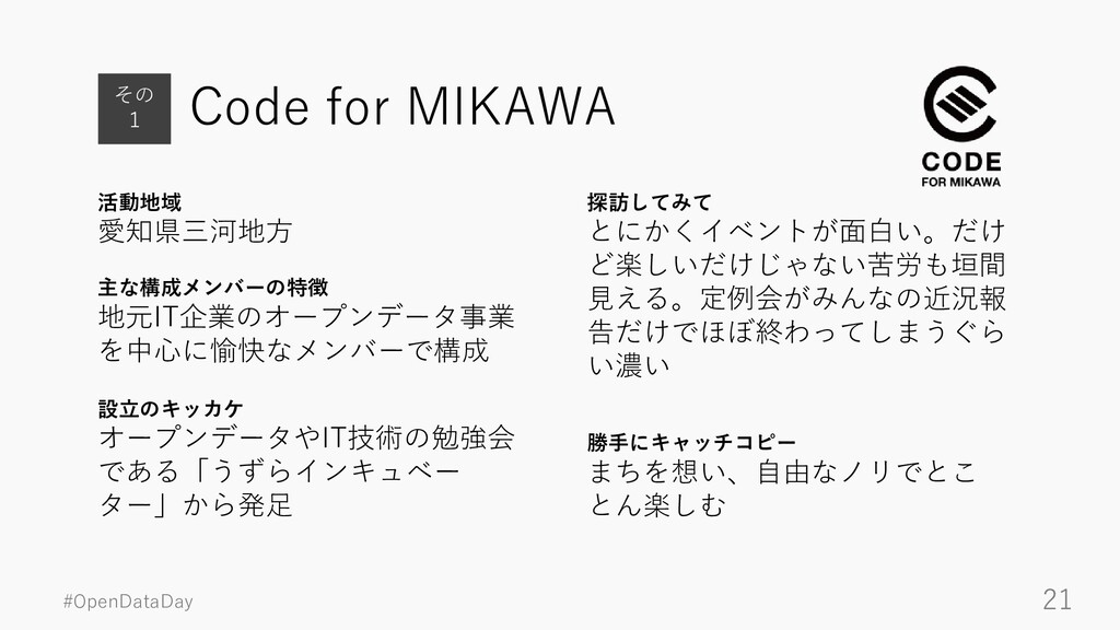 #OpenDataDay 21 Code for MIKAWA 活動地域 愛知県三河地方 その...