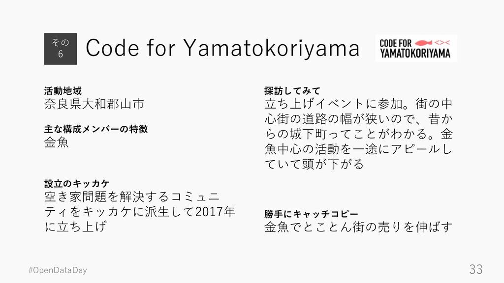 #OpenDataDay 33 Code for Yamatokoriyama 活動地域 奈良...