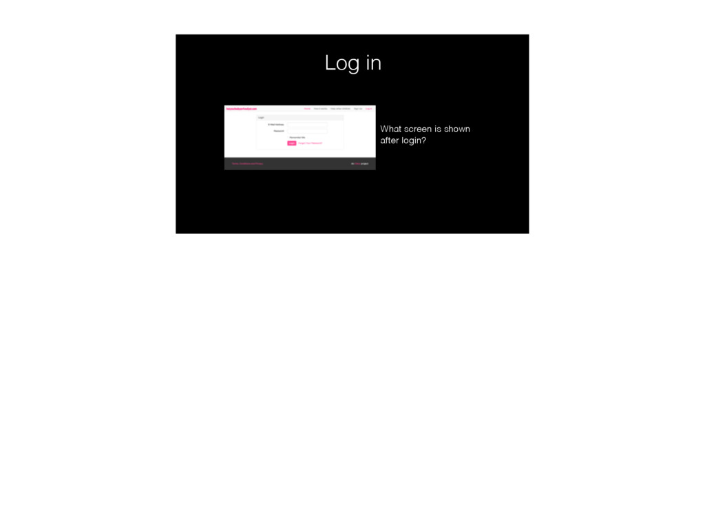 Log in What screen is shown after login?