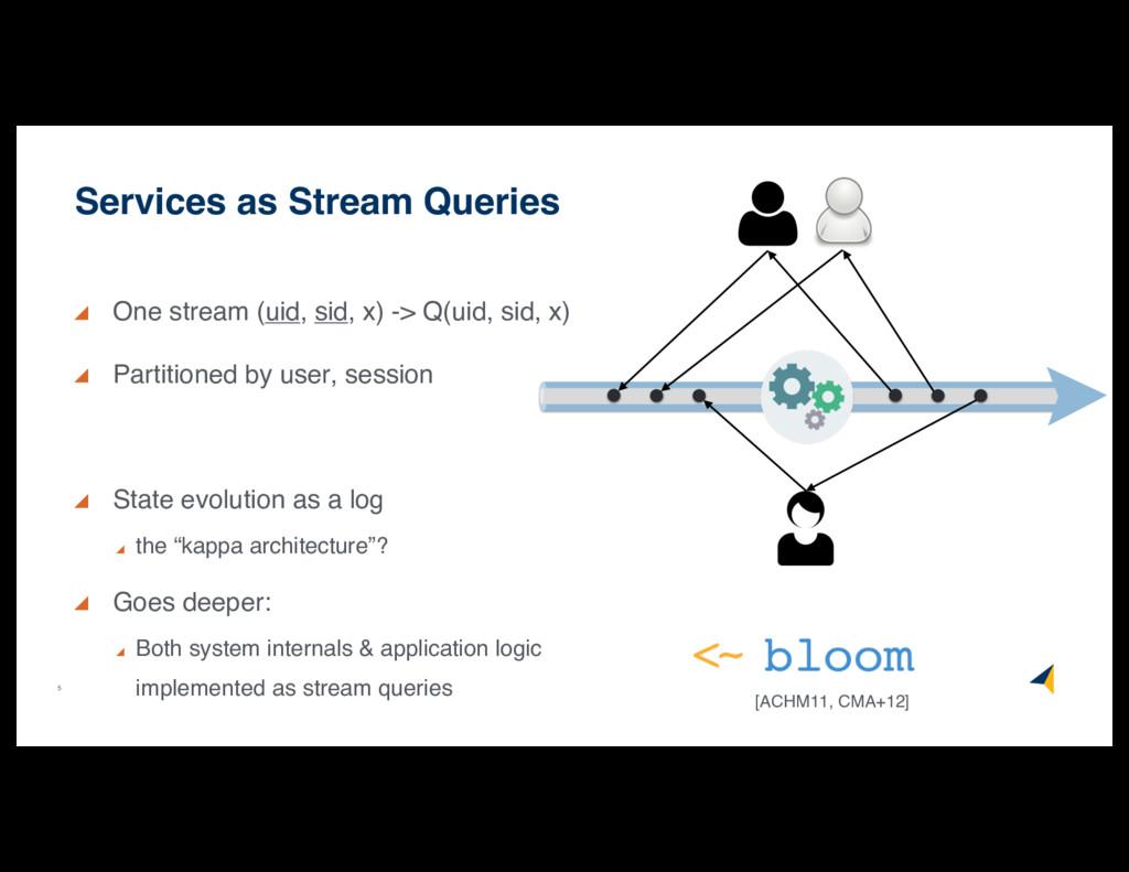 5 One stream (uid, sid, x) -> Q(uid, sid, x) Pa...