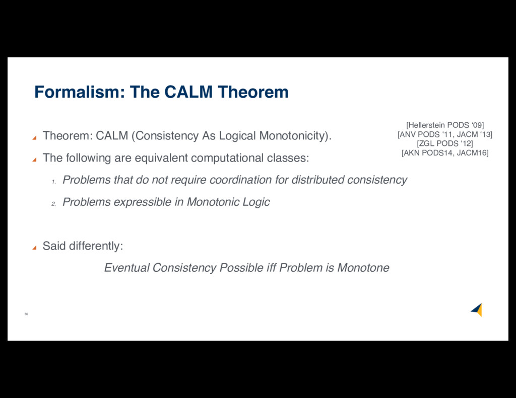 60 Formalism: The CALM Theorem Theorem: CALM (C...