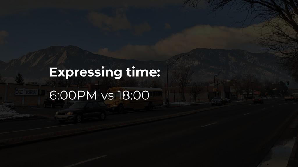 Expressing time: 6:00PM vs 18:00