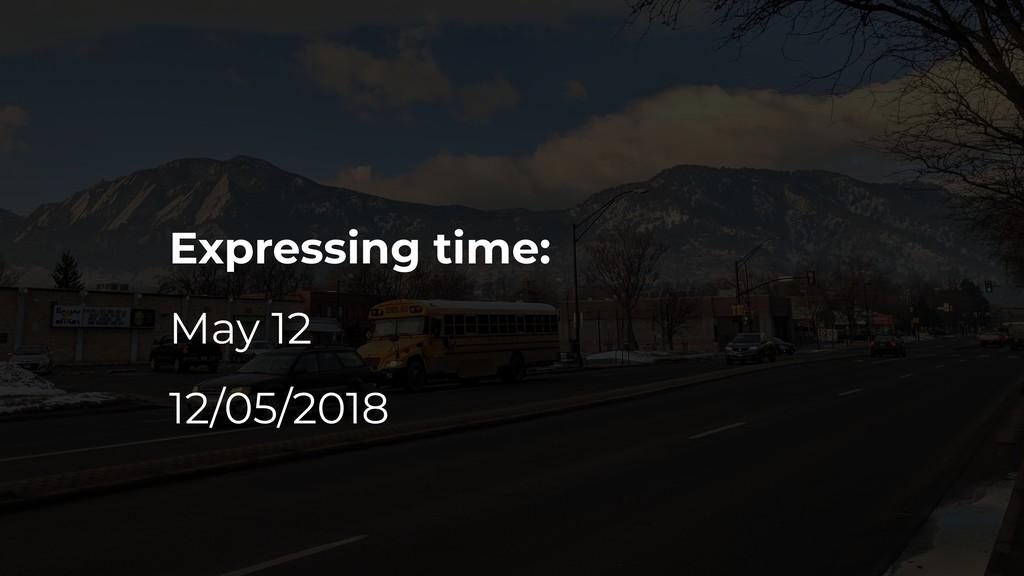 Expressing time: May 12 12/05/2018