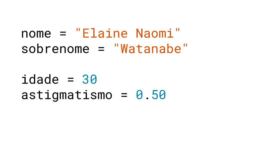 "nome = ""Elaine Naomi"" sobrenome = ""Watanabe"" id..."