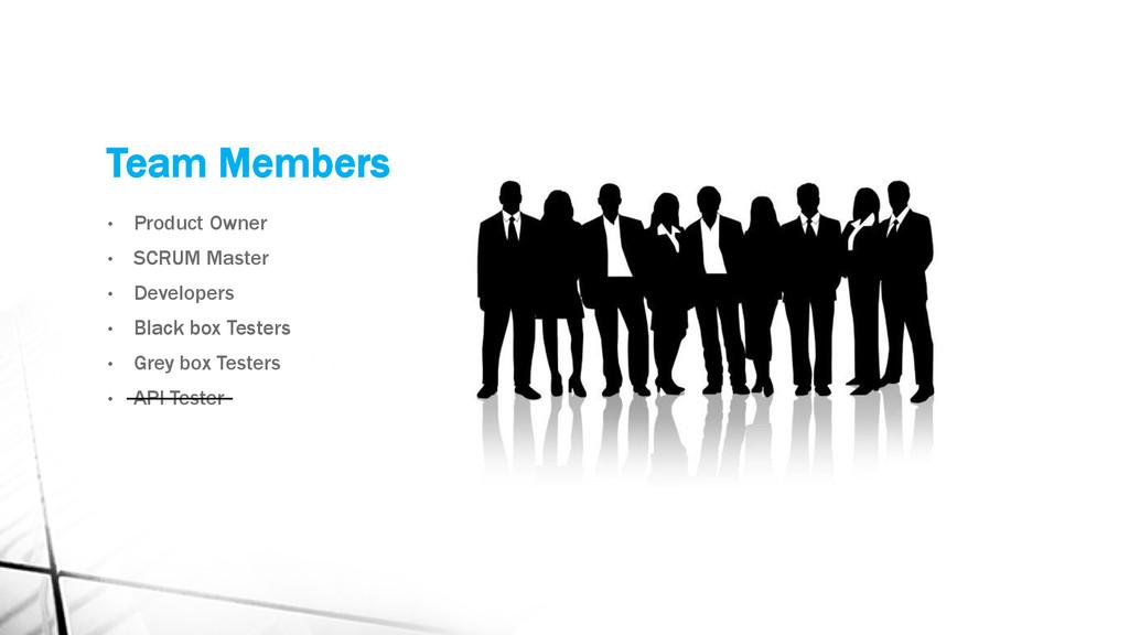 Team Members • Product Owner • SCRUM Master • D...