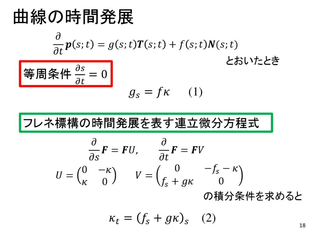 18 曲線の時間発展    ;  =  ;   ;  +  ;  (; ) フレネ標構の時間発...