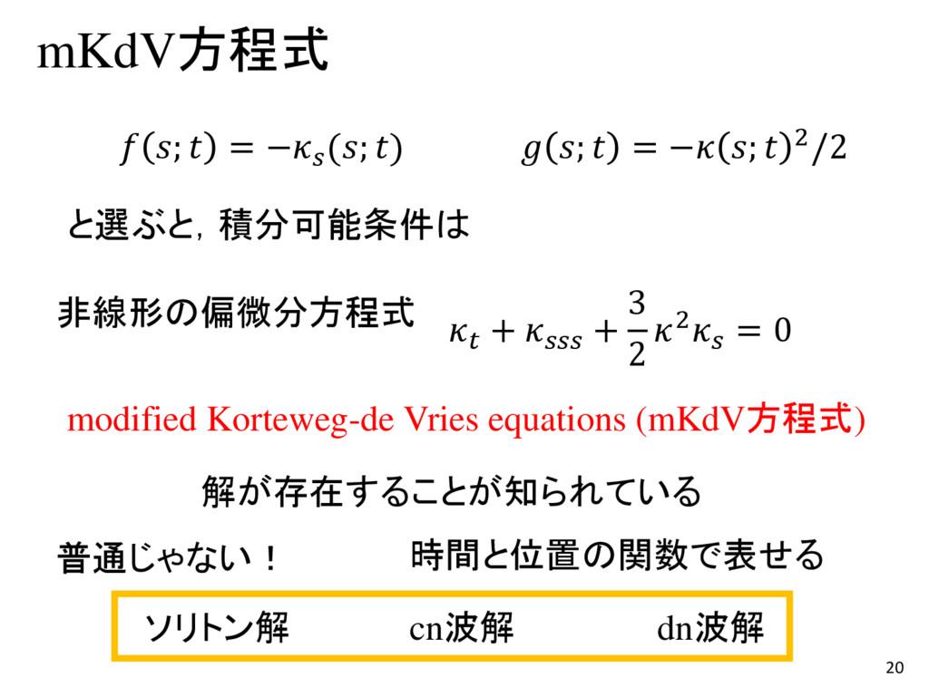 20 mKdV方程式  +  + 3 2 2 = 0 modified Korteweg-de...