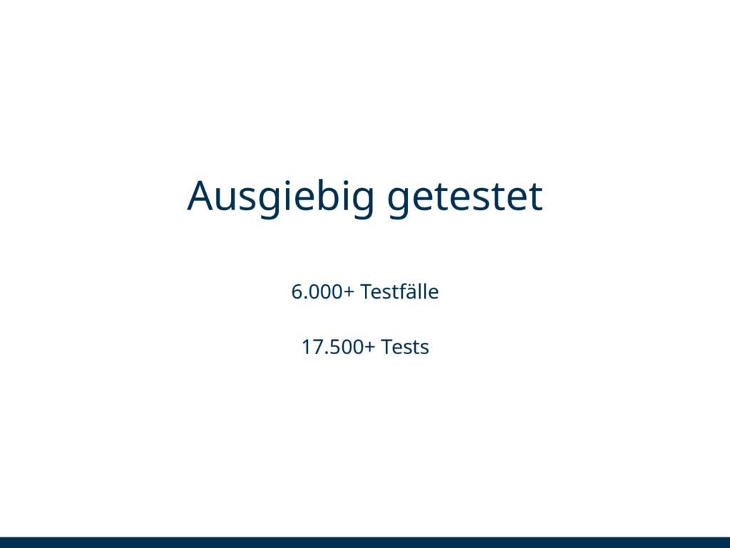 Ausgiebig getestet 6.000+ Testfälle 17.500+ Tes...