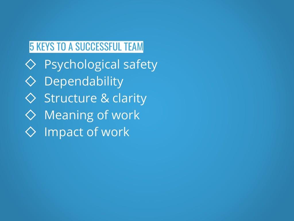 5 KEYS TO A SUCCESSFUL TEAM ◇ Psychological saf...