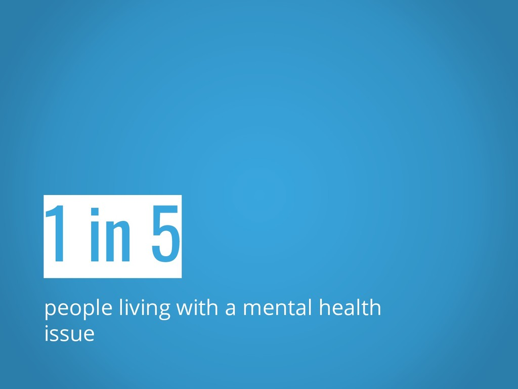 1 in 5 people living with a mental health issue