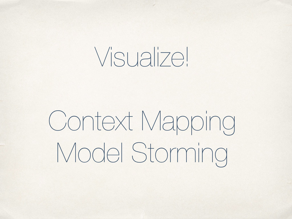 Visualize! ! Context Mapping Model Storming