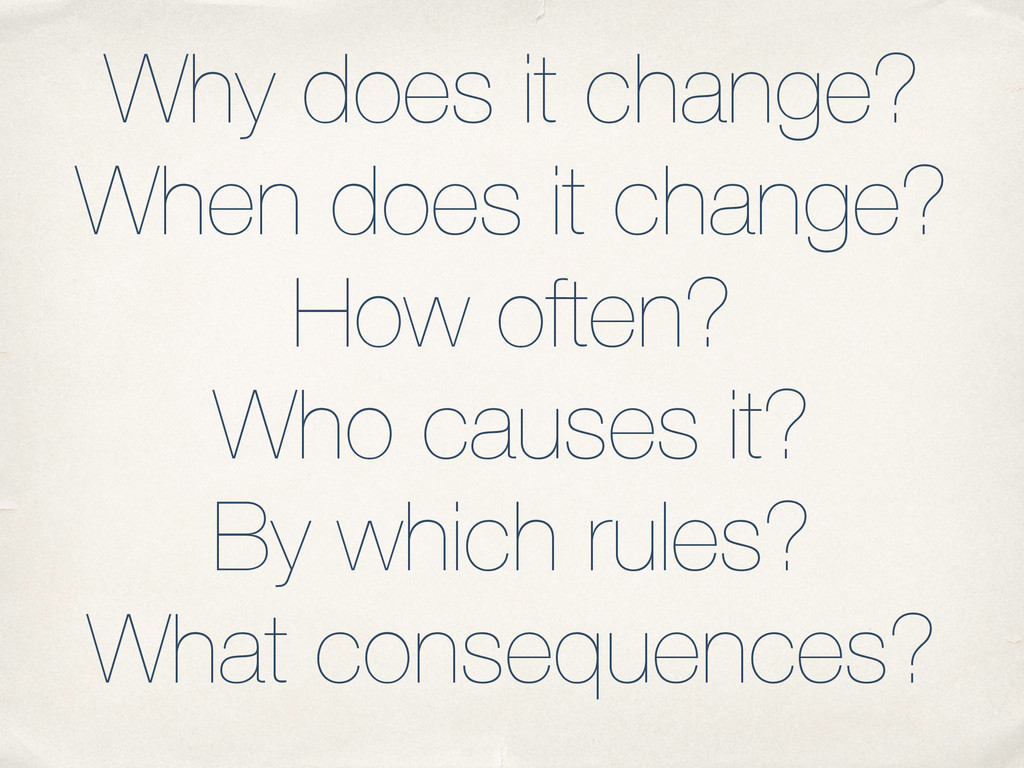 Why does it change? When does it change? How of...