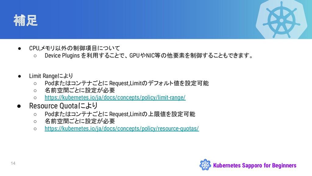 Kubernetes Sapporo for Beginners 補足 14 ● CPU,メモ...