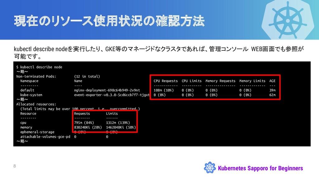Kubernetes Sapporo for Beginners 現在のリソース使用状況の確認...