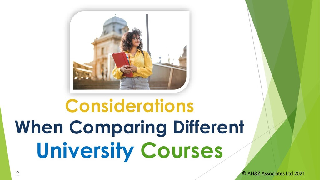 2 Considerations When Comparing Different Unive...