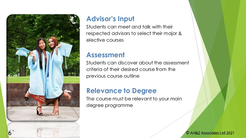 Advisor's Input Students can meet and talk with...