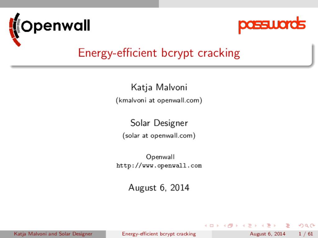 Energy-efficient bcrypt cracking Katja Malvoni (k...