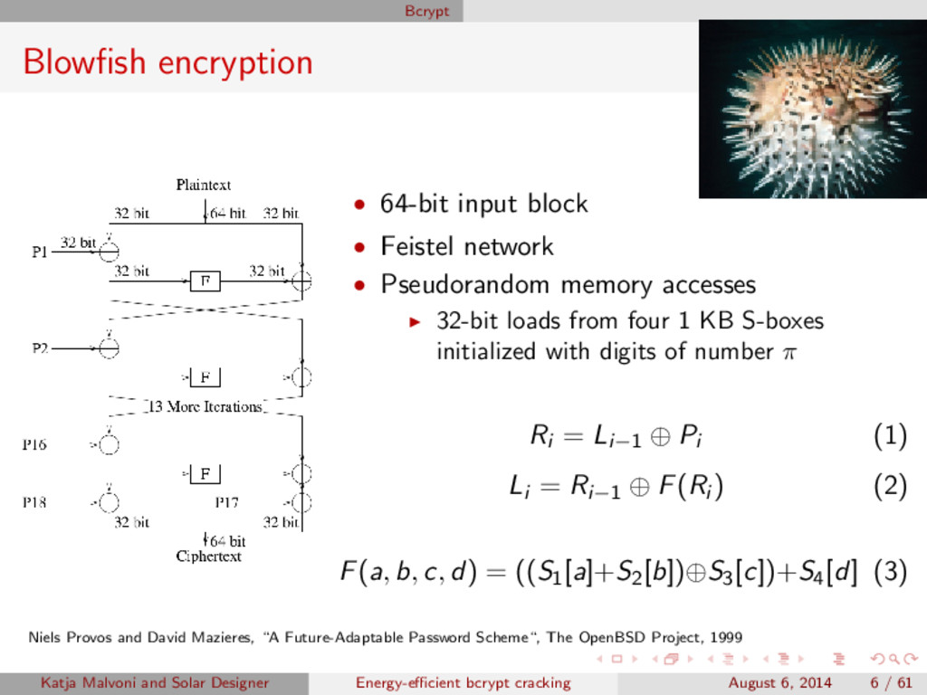Bcrypt Blowfish encryption • 64-bit input block ...