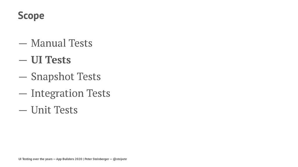 Scope — Manual Tests — UI Tests — Snapshot Test...