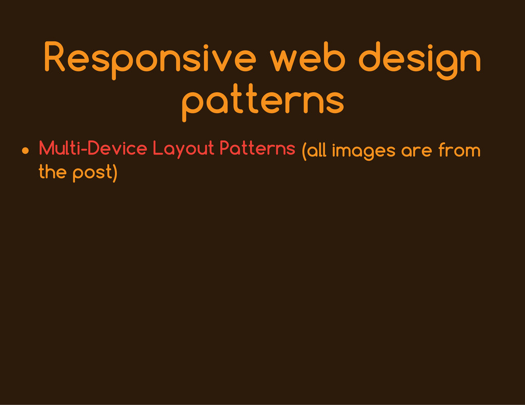 Responsive web design patterns (all images are ...