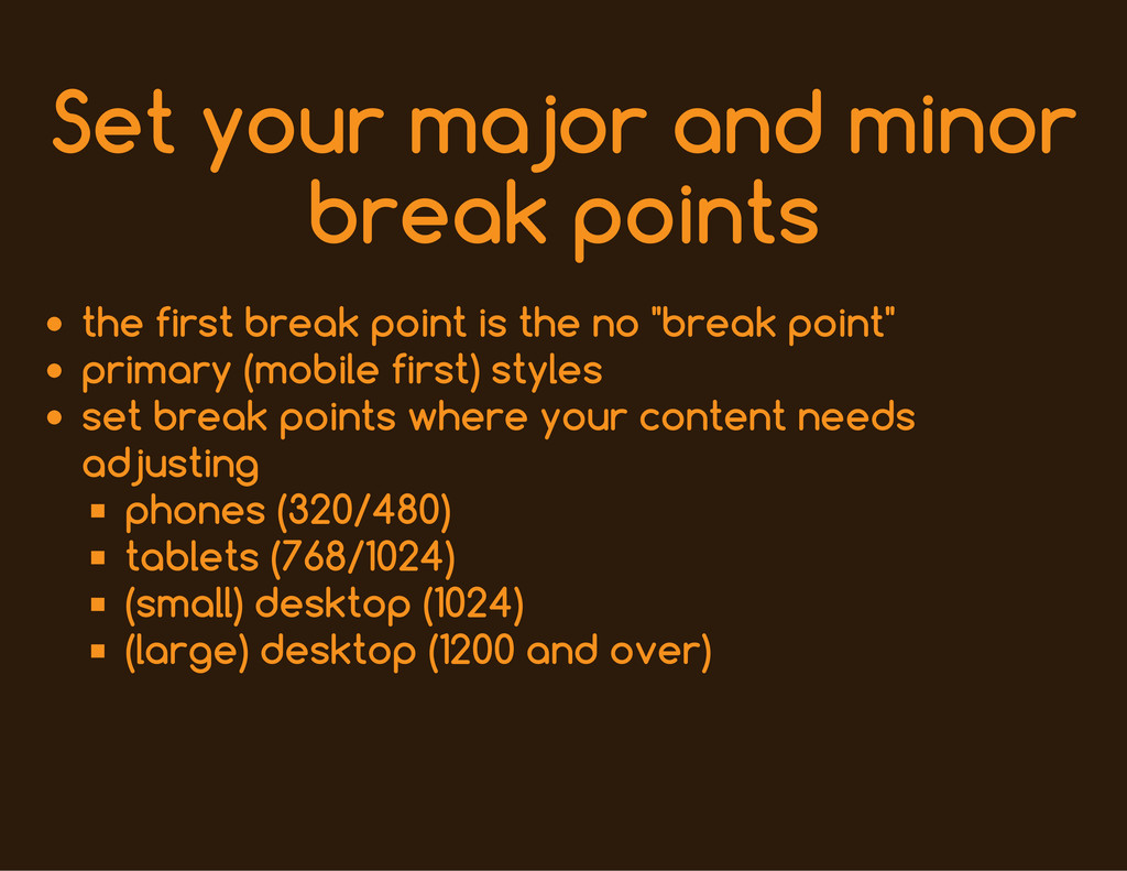 Set your major and minor break points the first...