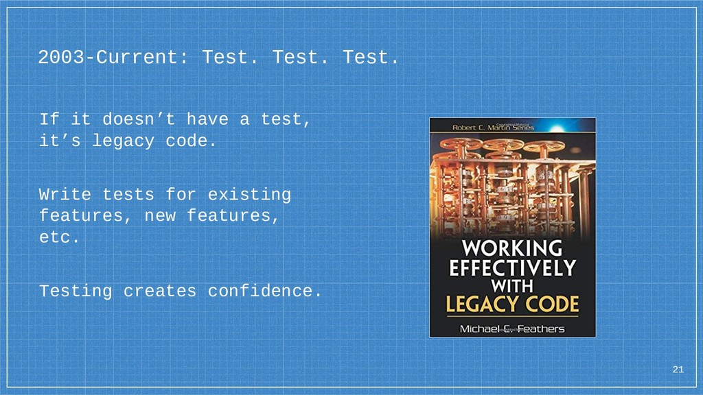 2003-Current: Test. Test. Test. If it doesn't h...