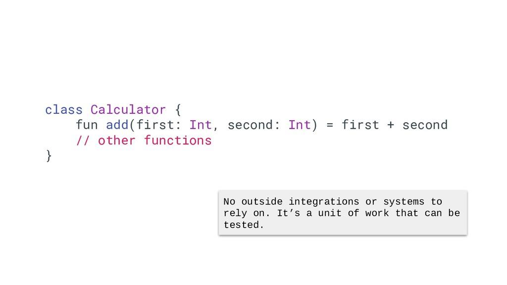 34 class Calculator { fun add(first: Int, secon...