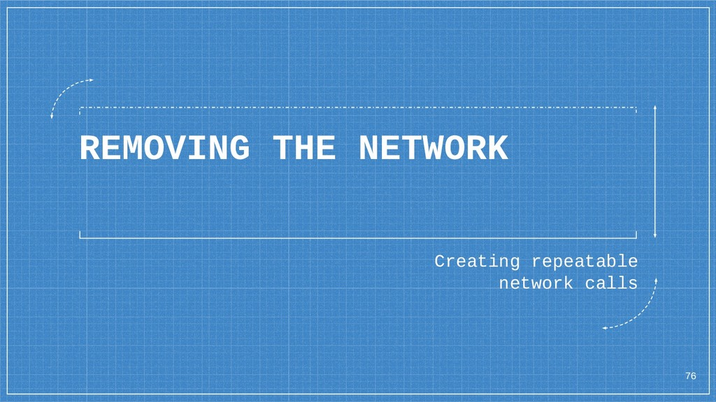 REMOVING THE NETWORK 76 Creating repeatable net...