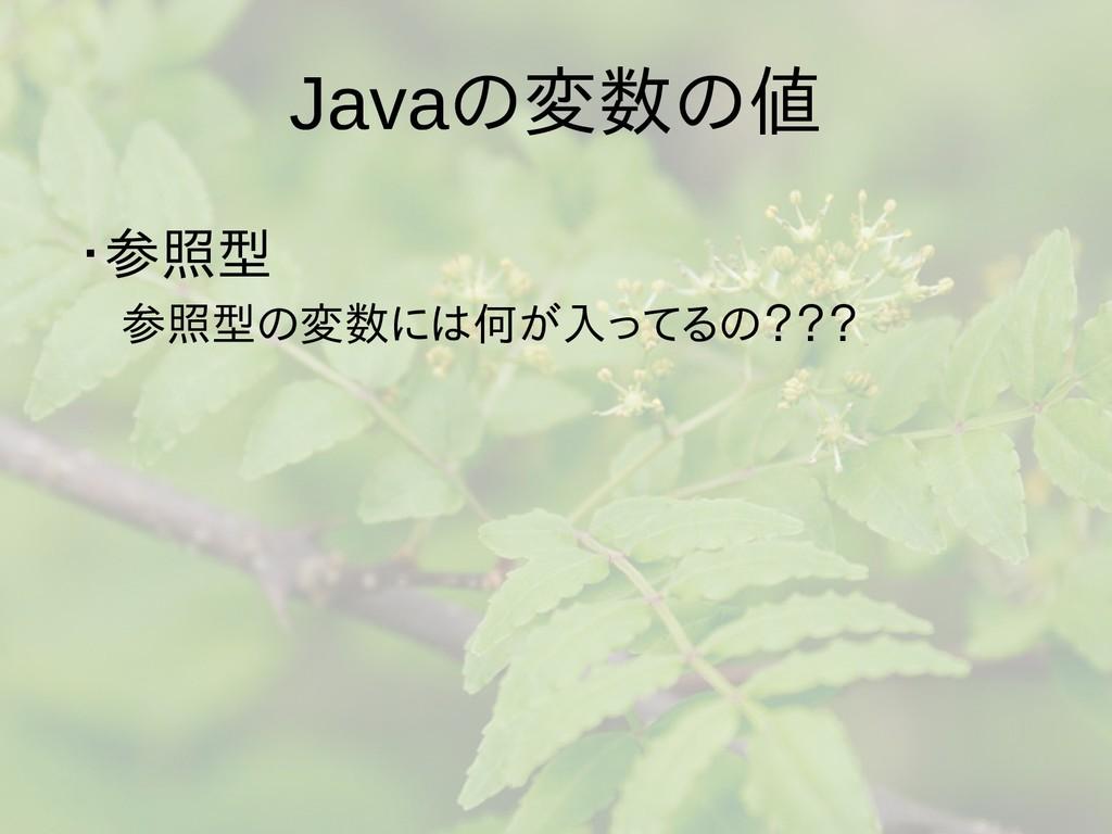 Javaの梅雨入りと梅雨変数の梅雨入りと梅雨値 ・参照型は値渡し、参照  参照型は値渡し、参照...