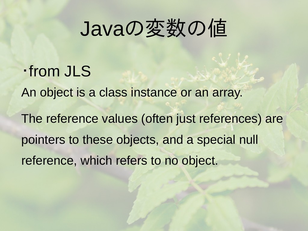 Javaの梅雨入りと梅雨変数の梅雨入りと梅雨値 ・from JLS An object is ...