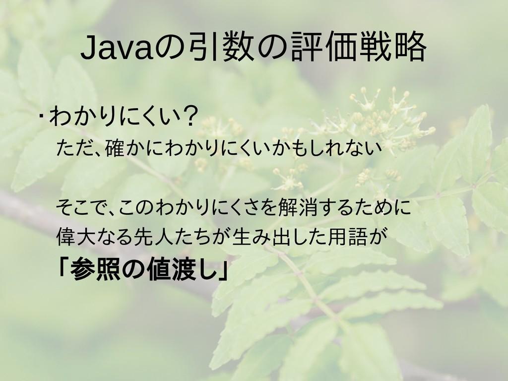 Javaの梅雨入りと梅雨引数の梅雨入りと梅雨評価戦略 ・わか批判コメントがりに参照渡しはないく...