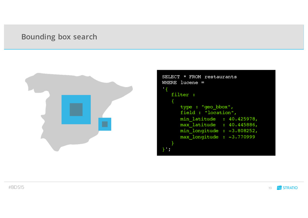 Bounding box search #BDS15 19 SELECT * FROM res...