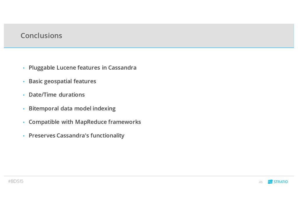 Conclusions • Pluggable Lucene features in Cass...